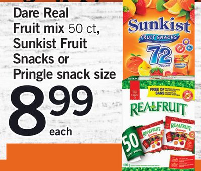 Dare Real Fruit Mix 50 Ct - Sunkist Fruit Snacks Or Pringle Snack Size