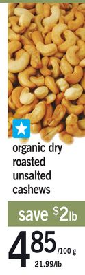 Organic Dry Roasted Unsalted Cashews