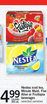 Nestea Iced Tea - Minute Maid - Five Alive Or Fruitopia Beverages - 12x340- 355 mL