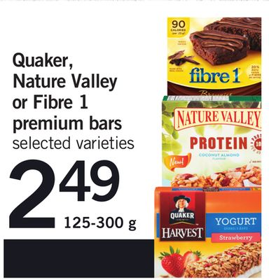 Quaker - Nature Valley Or Fibre 1 Premium Bars - 125-300 g