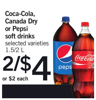 Coca-cola - Canada Dry Or Pepsi Soft Drinks - 1.5/2 L