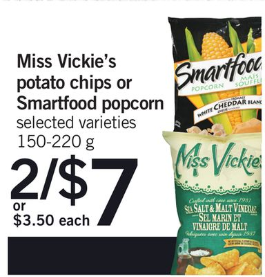Miss Vickie's Potato Chips Or Smartfood Popcorn - 150-220 g