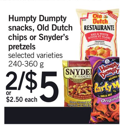 Humpty Dumpty Snacks - Old Dutch Chips Or Snyder's Pretzels - 240-360 g