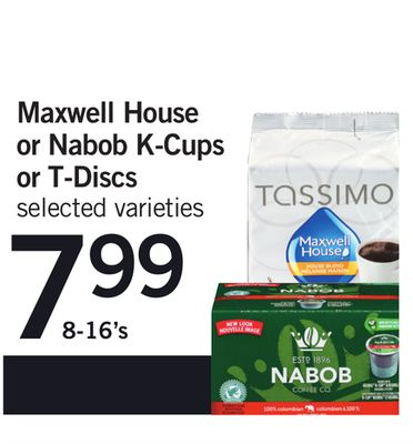 Maxwell House Or Nabob K-cups Or T-discs - 8-16's