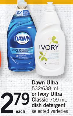 Dawn Ultra - 538/638 mL Or Ivory Ultra Classic - 709 mL Dish Detergent