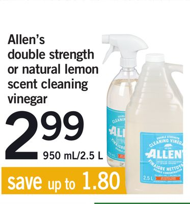 Allen's Double Strength or Natural Lemon Scent Cleaning Vinegar - 950 Ml/2.5 L