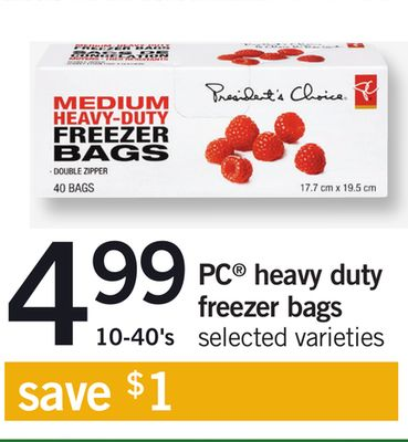 PC Heavy Duty Freezer Bags - 10-40's