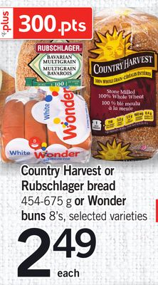 Country Harvest Or Rubschlager Bread - 454-675 G Or Wonder Buns - 8's