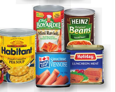 Heinz Beans Or Pasta - 398 Ml - Chef Boyardee Pasta - 212-425 G Or Habitant Soup - 796 Ml - Maple Leaf Flakes Of Ham - Turkey - Chicken - 156 G - Vienna Sausages - 113 G Or Holiday Luncheon Meat - 340 G