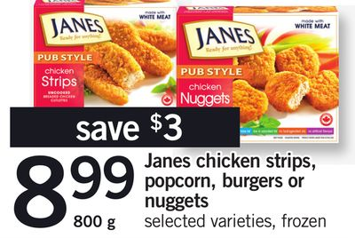 Janes Chicken Strips - Popcorn - Burgers Or Nuggets - 800 g