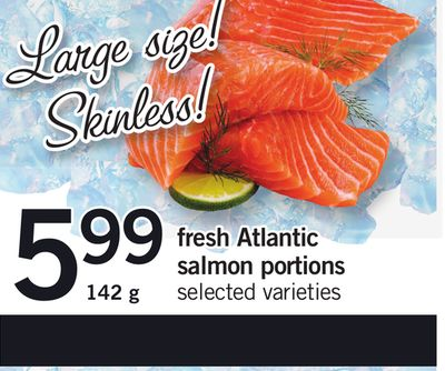 Fresh Atlantic Salmon Portions - 142 g