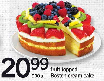 Fruit Topped Boston Cream Cake - 900 g