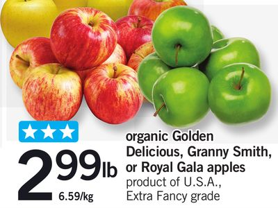 Organic Golden Delicious - Granny Smith - Or Royal Gala Apples