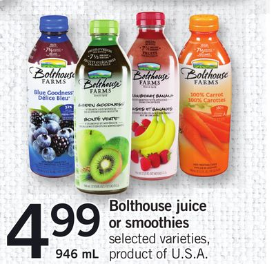 Bolthouse Juice Or Smoothies - 946 mL