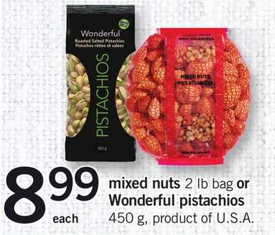 Mixed Nuts - 2 Lb Bag Or Wonderful Pistachios - 450 G