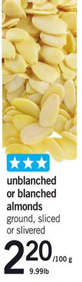 Unblanched Or Blanched Almonds.220/100 g