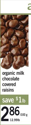 Organic Milk Chocolate Covered Raisins - 12.99 Lb