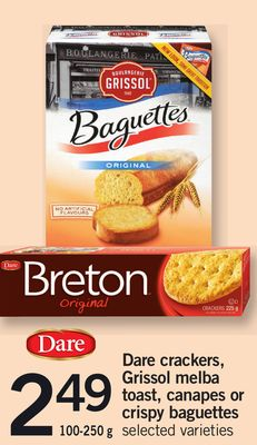 Dare Crackers - Grissol Melba Toast - Canapes Or Crispy Baguettes - 100-250 g