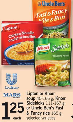 Lipton Or Knorr Soup 40-166 g - Knorr Sidekicks 111-167 g or Uncle Ben's Fast & Fancy Rice 165 g