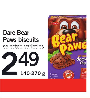 Dare Bear Paws Biscuits - 140-270 g
