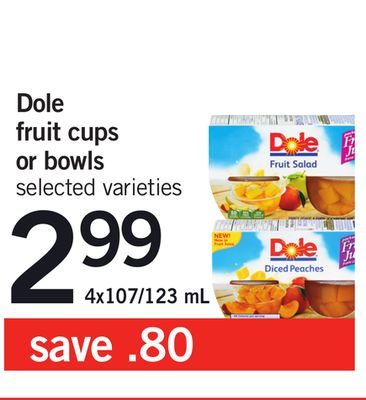 Dole Fruit Cups Or Bowls - 4x107/123 mL