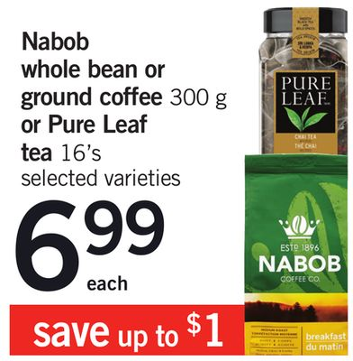 Nabob Whole Bean Or Ground Coffee - 300 g Or Pure Leaf Tea - 16's
