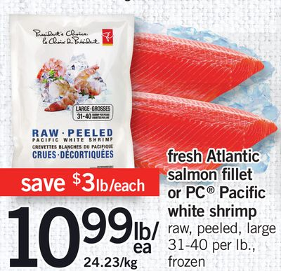 Fresh Atlantic Salmon Fillet Or PC Pacific White Shrimp
