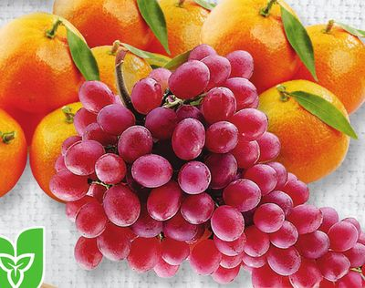 Stem And Leaf Clementines Or Red Seedless Grapes