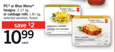 PC Or Blue Menu Lasagna 2.27 Kg Or Cabbage Rolls 1.81 Kg