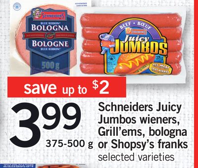 Schneiders Juicy Jumbos Wieners - Grill'ems - Bologna Or Shopsy's Franks - 375-500 g