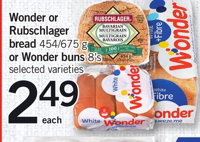 Wonder Or Rubschlager Bread - 454/675 G Or Wonder Buns 8's