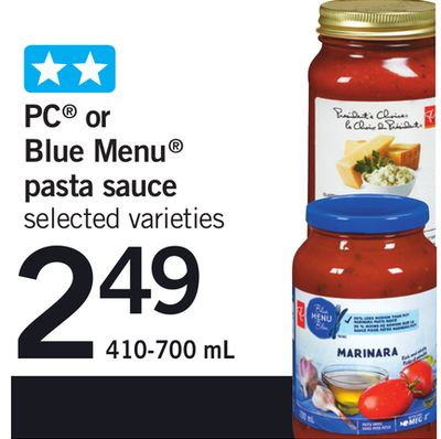 PC Or Blue Menu Pasta Sauce - 410-700 mL