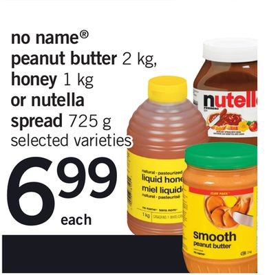 No Name Peanut Butter - 2 Kg - Honey - 1 Kg Or Nutella Spread - 725 g