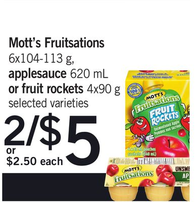 Mott's Fruitsations 6x104-113 G - Applesauce 620 Ml Or Fruit Rockets 4x90 G