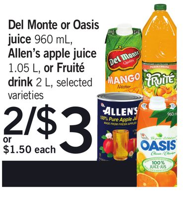 Del Monte Or Oasis Juice 960 Ml - Allen's Apple Juice 1.05 L - Or Fruité Drink 2 L
