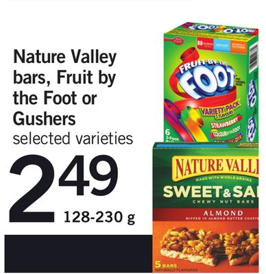 Nature Valley Bars - Fruit By The Foot Or Gushers - 128-230 g
