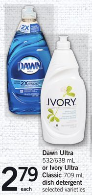 Dawn Ultra 532/638 mL Or Ivory Ultra Classic 709 mL Dish Detergent