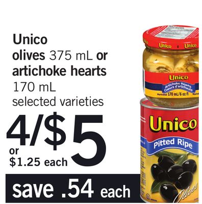 Unico Olives 375 mL Or Artichoke Hearts 170 mL