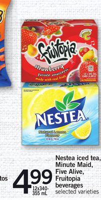 Nestea Iced Tea - Minute Maid - Five Alive - Fruitopia Beverages - 12x340- 355 mL