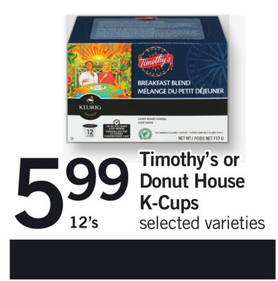 Keurig Timothy's Or Donut House K-cups - 12's
