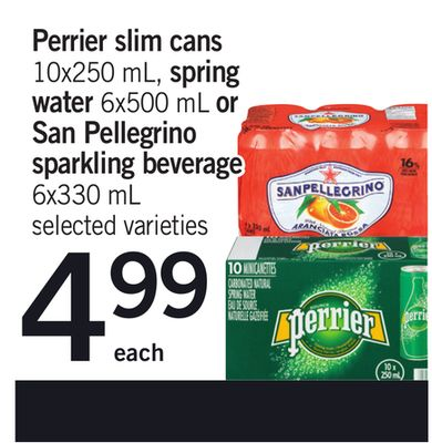Perrier Slim Cans - 10x250 Ml - Spring Water - 6x500 Ml Or San Pellegrino Sparkling Beverage