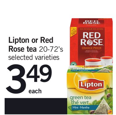 Lipton Or Red Rose Tea 20-72's
