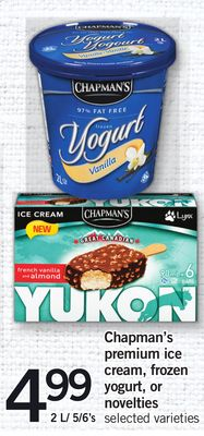 Chapman's Premium Ice Cream - Frozen Yogurt - Or Novelties - 2 L/ 5/6's