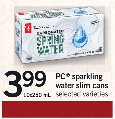 PC Sparkling Water Slim Cans - 10x250 mL