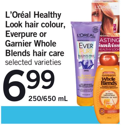 L'oréal Healthy Look Hair Colour - Everpure Or Garnier Whole Blends Hair Care - 250/650 mL