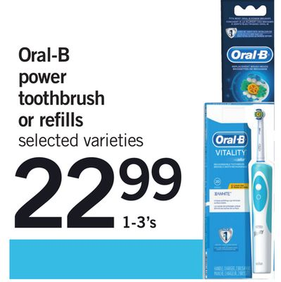 Oral-b Power Toothbrush Or Refills - 1-3's