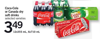 Coca-cola Or Canada Dry Soft Drinks - 12x355 Ml - 6x710 Ml