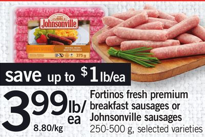 Fortinos Fresh Premium Breakfast Sausages Or Johnsonville Sausages - 250-500 g
