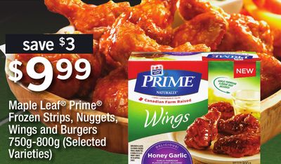 Maple Leaf Prime Frozen Strips - Nuggets - Wings And Burgers - 750g-800g