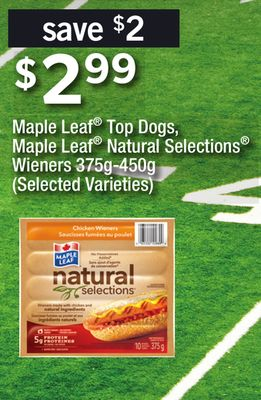 Maple Leaf Top Dogs - Maple Leaf Natural Selections Wieners - 375g-450g